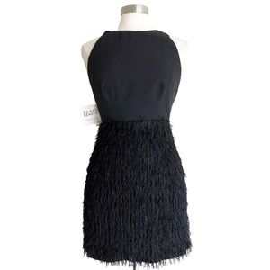Fame and Partners Black Fringed Cocktail Dress 6